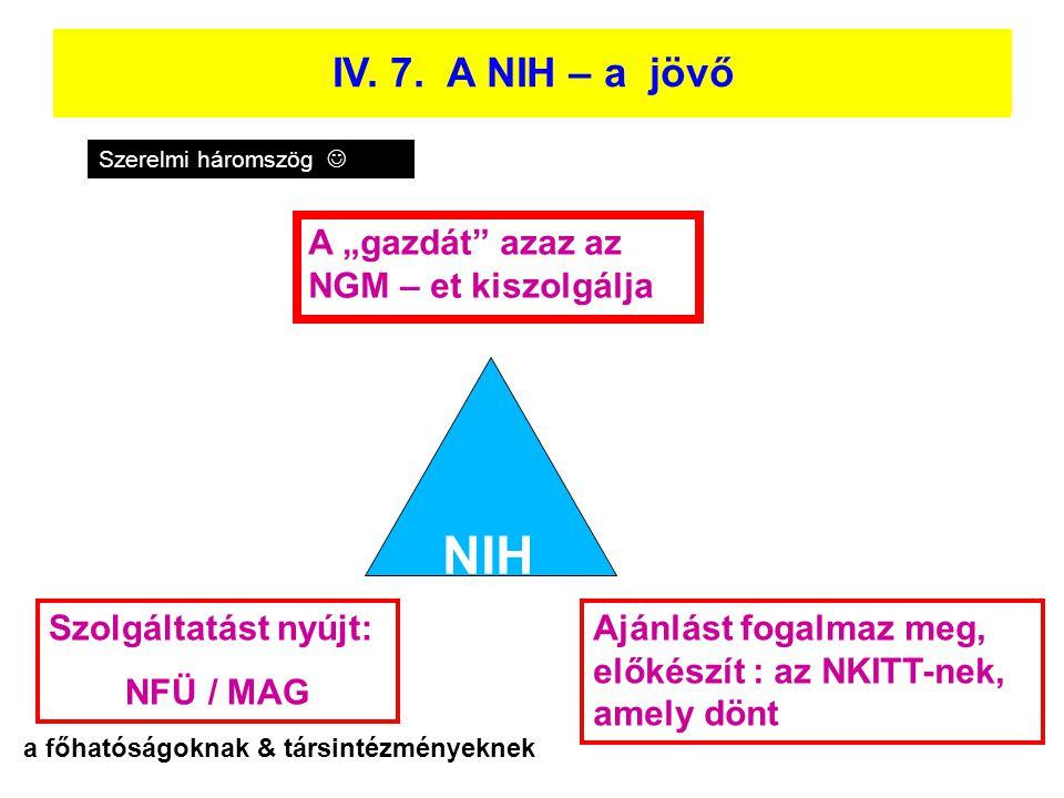 """Eddig az NKTH Funkcionális szétválasztás IV. 7. A NIH – a jövő NGM –et kiszolgálja A """"gazdát"""" azaz az NGM – et kiszolgálja NIH Szolgáltatást nyújt: NF"""