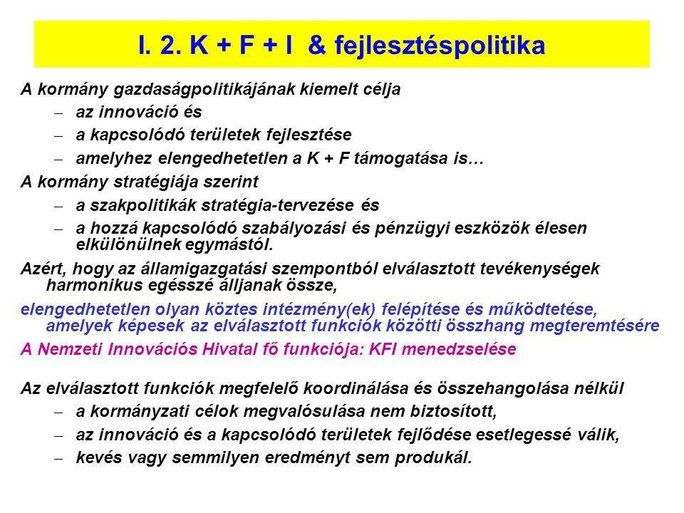 I. 2. K + F + I & fejlesztéspolitika A kormány gazdaságpolitikájának kiemelt célja – az innováció és – a kapcsolódó területek fejlesztése – amelyhez e