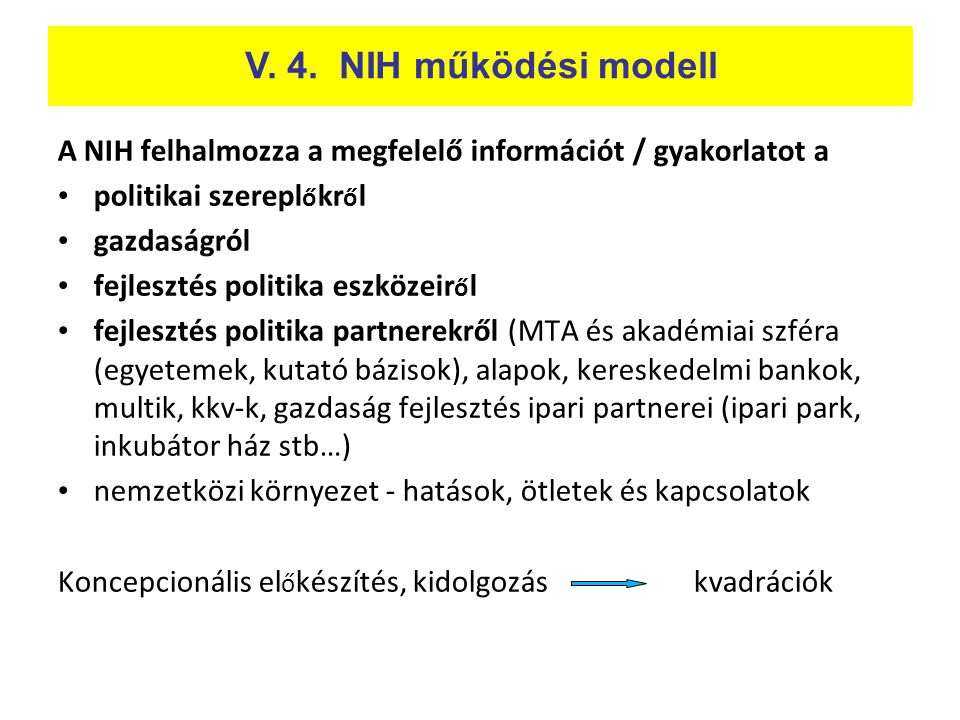 A NIH felhalmozza a megfelelő információt / gyakorlatot a • politikai szerepl ő kr ő l • gazdaságról • fejlesztés politika eszközeir ő l • fejlesztés
