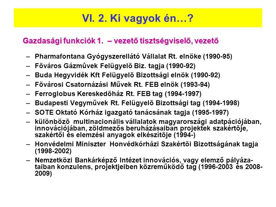Gazdasági funkciók 1. – vezető tisztségviselő, vezető –Pharmafontana Gyógyszerellátó Vállalat Rt. elnöke (1990-95) –Fõváros Gázmûvek Felügyelõ Biz. ta