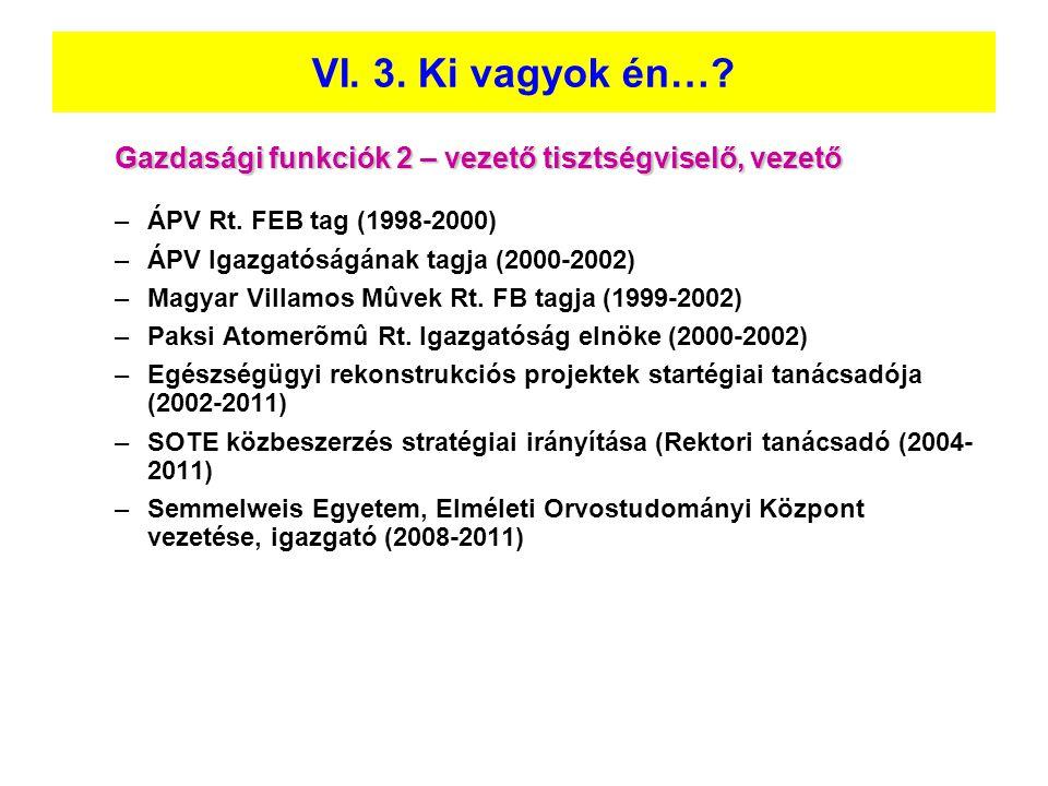 Gazdasági funkciók 2 – vezető tisztségviselő, vezető –ÁPV Rt. FEB tag (1998-2000) –ÁPV Igazgatóságának tagja (2000-2002) –Magyar Villamos Mûvek Rt. FB