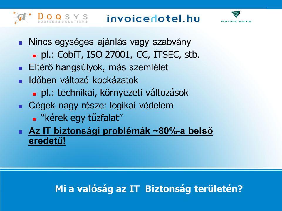  Nincs egységes ajánlás vagy szabvány  pl.: CobiT, ISO 27001, CC, ITSEC, stb.