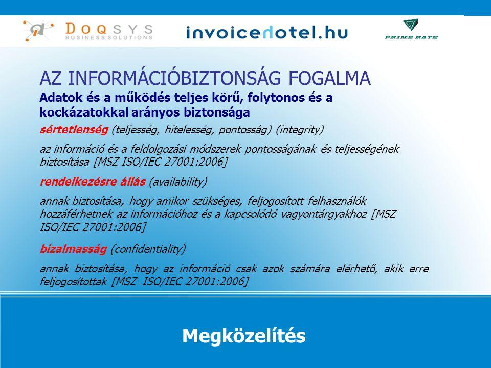 sértetlenség (teljesség, hitelesség, pontosság) (integrity) az információ és a feldolgozási módszerek pontosságának és teljességének biztosítása [MSZ ISO/IEC 27001:2006] rendelkezésre állás (availability) annak biztosítása, hogy amikor szükséges, feljogosított felhasználók hozzáférhetnek az információhoz és a kapcsolódó vagyontárgyakhoz [MSZ ISO/IEC 27001:2006] bizalmasság (confidentiality) annak biztosítása, hogy az információ csak azok számára elérhető, akik erre feljogosítottak [MSZ ISO/IEC 27001:2006] AZ INFORMÁCIÓBIZTONSÁG FOGALMA Adatok és a működés teljes körű, folytonos és a kockázatokkal arányos biztonsága Megközelítés