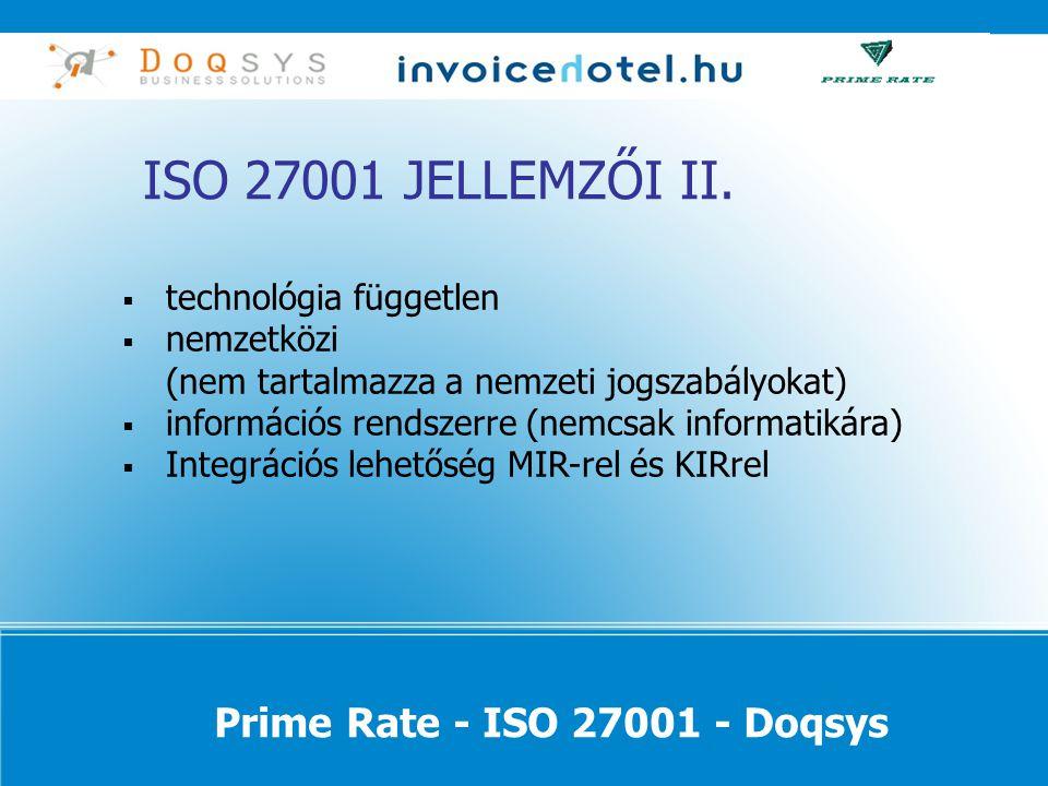 ISO 27001 JELLEMZŐI II.