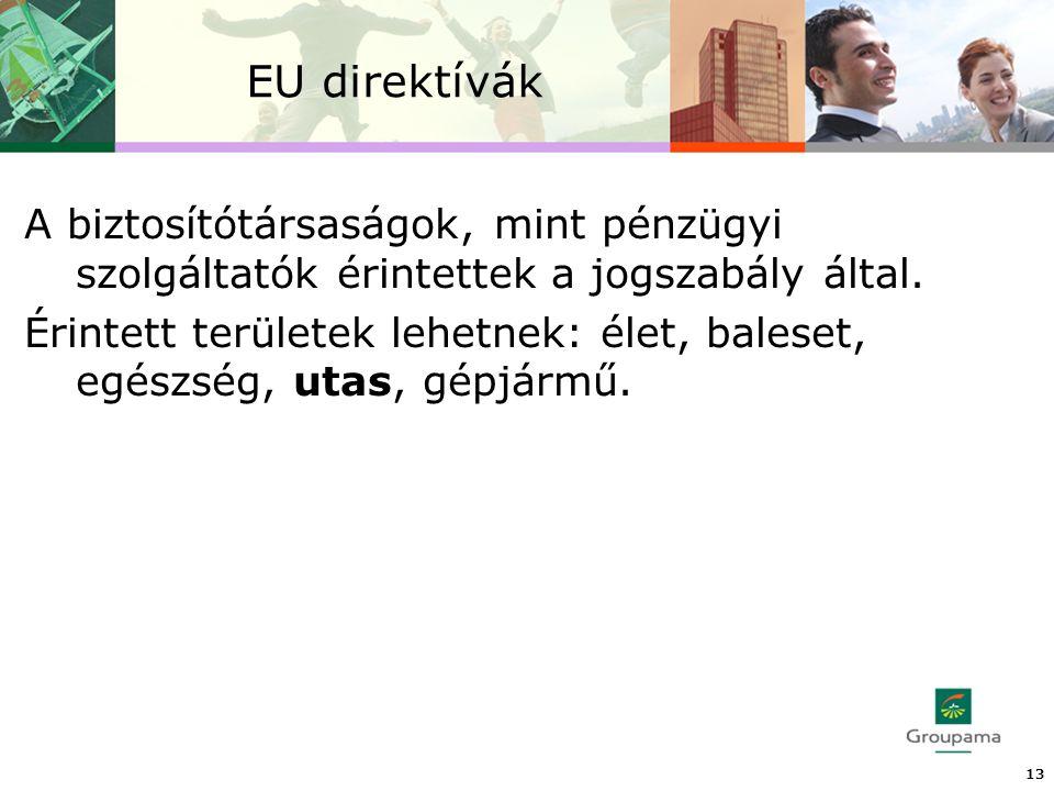 EU direktívák 13 A biztosítótársaságok, mint pénzügyi szolgáltatók érintettek a jogszabály által.
