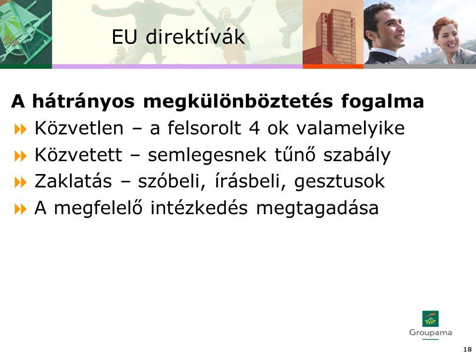 EU direktívák 18 A hátrányos megkülönböztetés fogalma  Közvetlen – a felsorolt 4 ok valamelyike  Közvetett – semlegesnek tűnő szabály  Zaklatás – szóbeli, írásbeli, gesztusok  A megfelelő intézkedés megtagadása