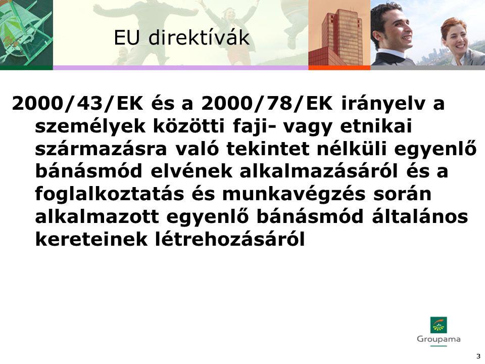 EU direktívák 2000/43/EK és a 2000/78/EK irányelv a személyek közötti faji- vagy etnikai származásra való tekintet nélküli egyenlő bánásmód elvének alkalmazásáról és a foglalkoztatás és munkavégzés során alkalmazott egyenlő bánásmód általános kereteinek létrehozásáról 3