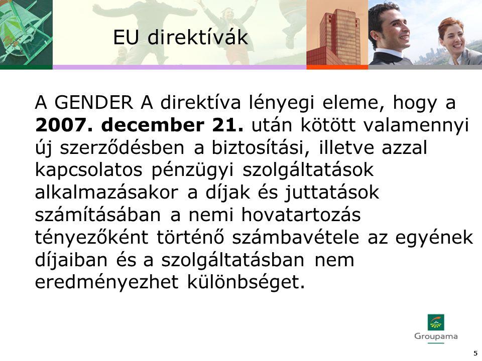EU direktívák A GENDER A direktíva lényegi eleme, hogy a 2007.
