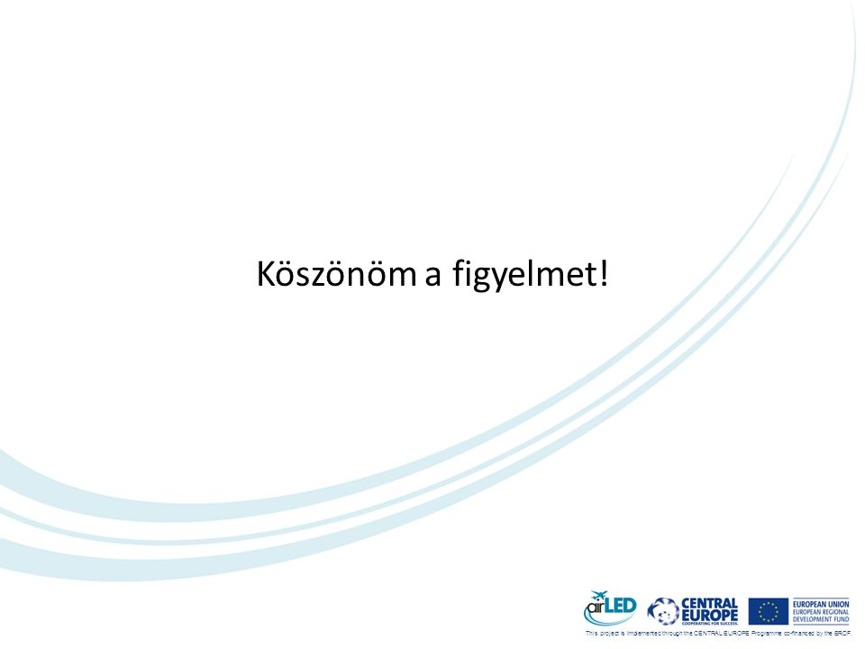 This project is implemented through the CENTRAL EUROPE Programme co-financed by the ERDF. Köszönöm a figyelmet!