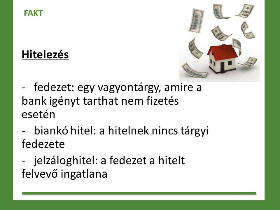 Hitelezés - fedezet: egy vagyontárgy, amire a bank igényt tarthat nem fizetés esetén - biankó hitel: a hitelnek nincs tárgyi fedezete - jelzáloghitel: