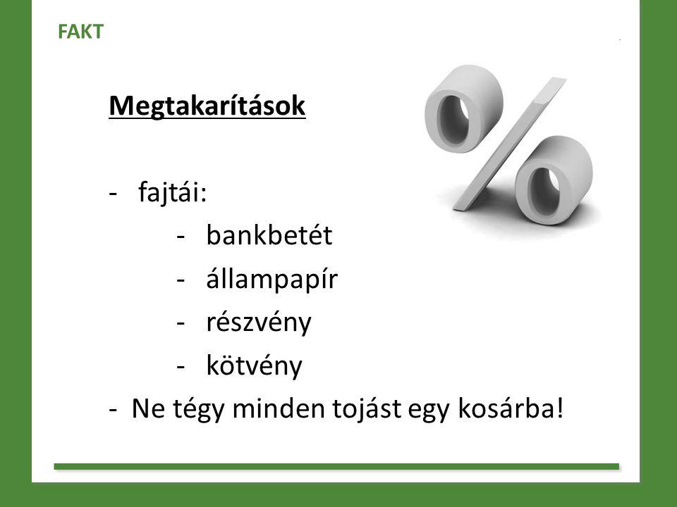 Megtakarítások - fajtái: - bankbetét - állampapír - részvény - kötvény - Ne tégy minden tojást egy kosárba! FAKT