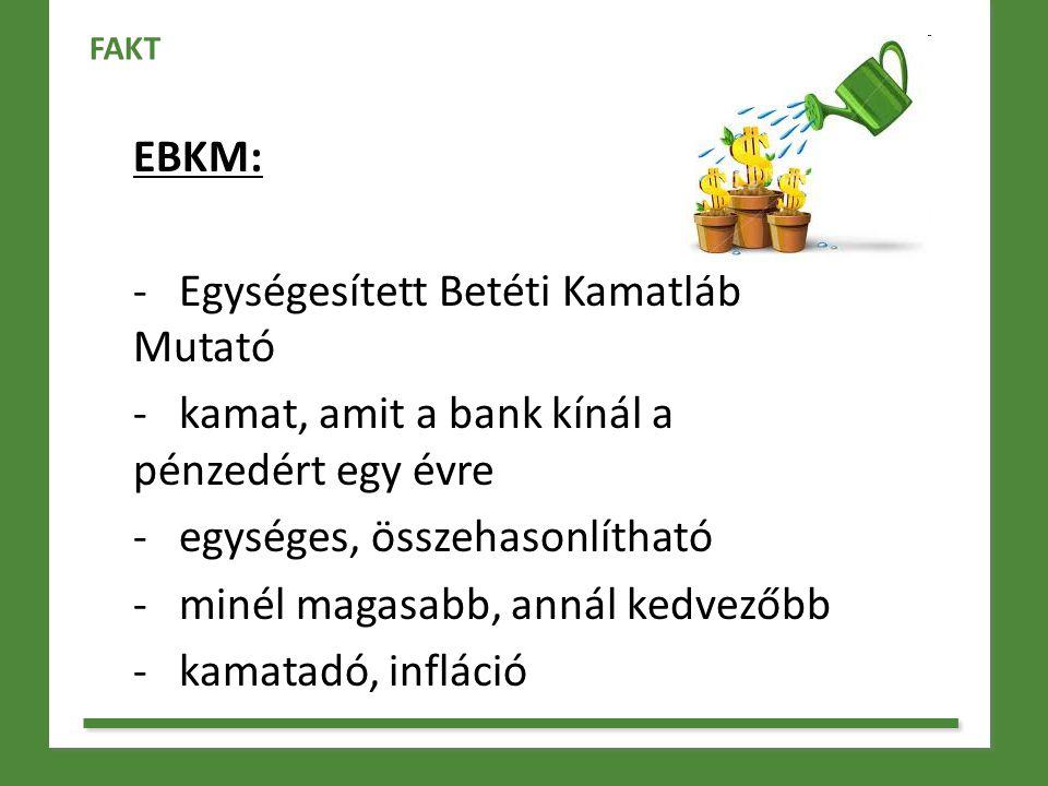 EBKM: - Egységesített Betéti Kamatláb Mutató - kamat, amit a bank kínál a pénzedért egy évre - egységes, összehasonlítható - minél magasabb, annál ked