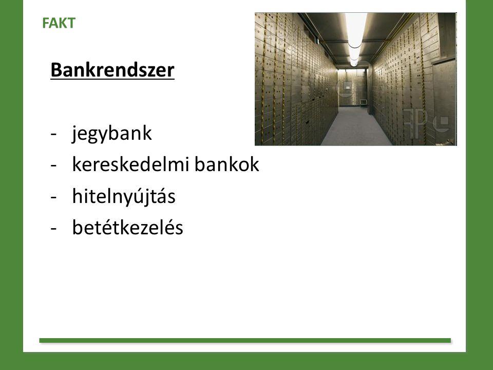 Bankrendszer - jegybank - kereskedelmi bankok - hitelnyújtás - betétkezelés FAKT