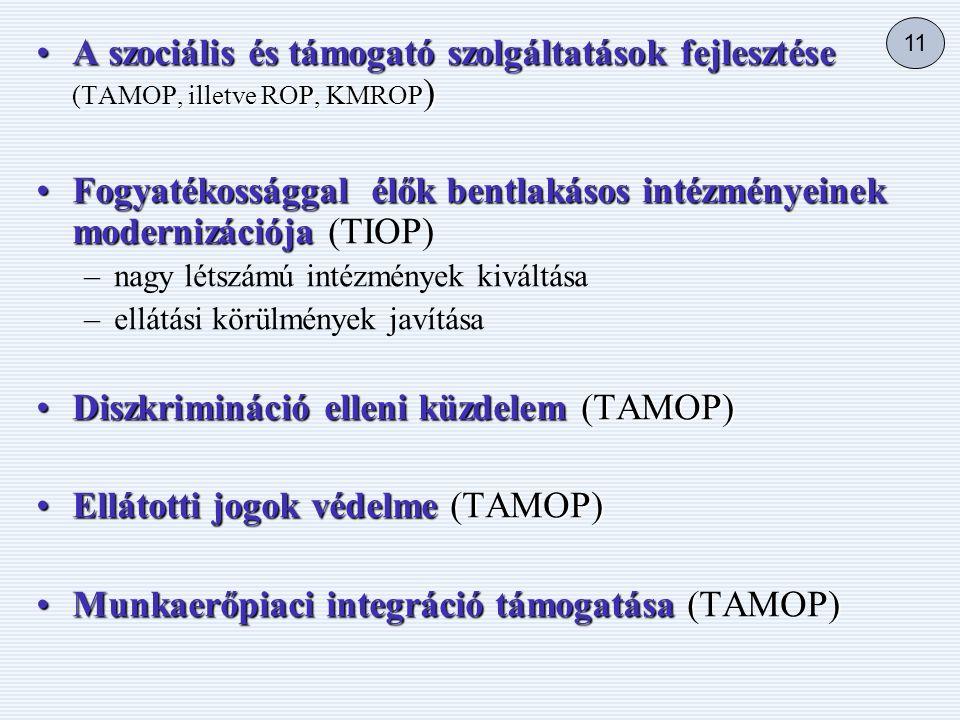 •A szociális és támogató szolgáltatások fejlesztése (, illetve ROP, KMROP ) •A szociális és támogató szolgáltatások fejlesztése (TAMOP, illetve ROP, KMROP ) •Fogyatékossággal élők bentlakásos intézményeinek modernizációja •Fogyatékossággal élők bentlakásos intézményeinek modernizációja (TIOP) – –nagy létszámú intézmények kiváltása – –ellátási körülmények javítása •Diszkrimináció elleni küzdelem (TAMOP) •Ellátotti jogok védelme (TAMOP) •Munkaerőpiaci integráció támogatása () •Munkaerőpiaci integráció támogatása (TAMOP) 11