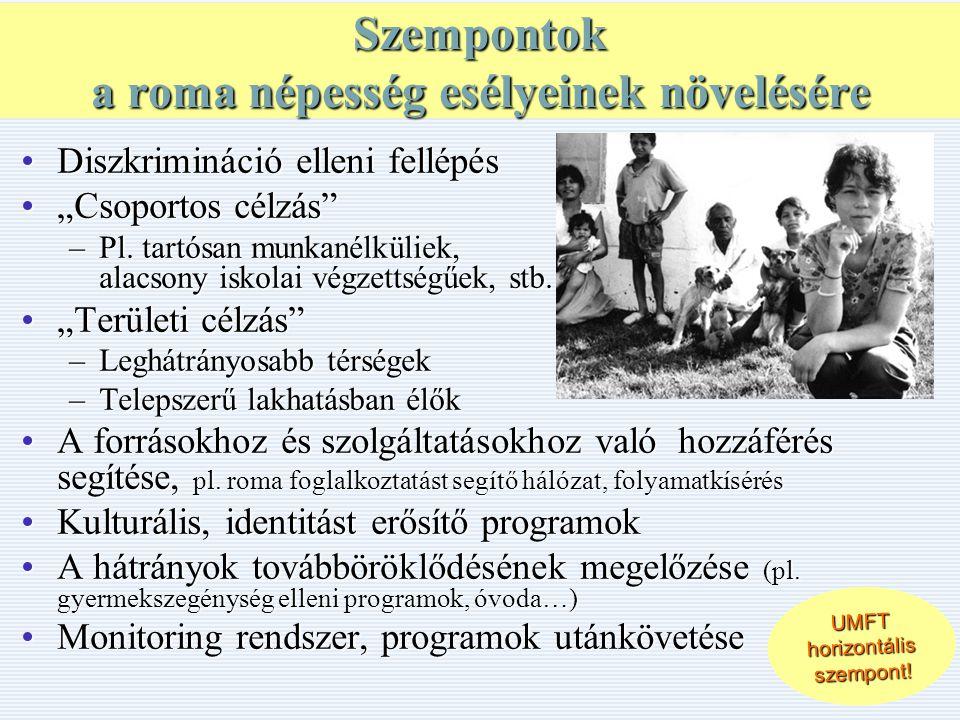 """Szempontok a roma népesség esélyeinek növelésére •Diszkrimináció elleni fellépés •""""Csoportos célzás –Pl."""