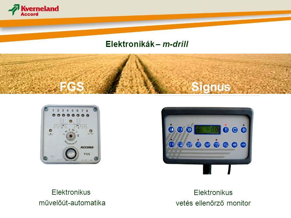 Elektronikus művelőút-automatika FGS Elektronikus vetés ellenőrző monitor Signus Elektronikák – m-drill