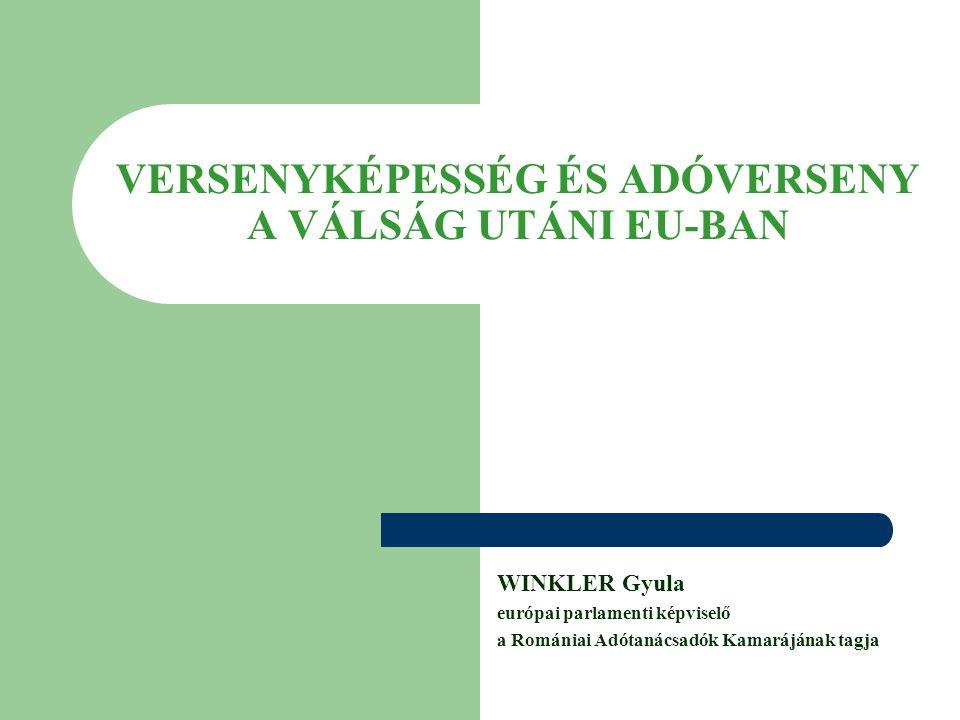 VERSENYKÉPESSÉG ÉS ADÓVERSENY A VÁLSÁG UTÁNI EU-BAN WINKLER Gyula európai parlamenti képviselő a Romániai Adótanácsadók Kamarájának tagja