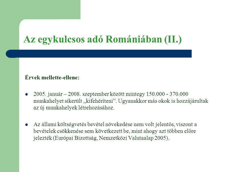 Az egykulcsos adó Romániában (II.) Érvek mellette-ellene:  2005.