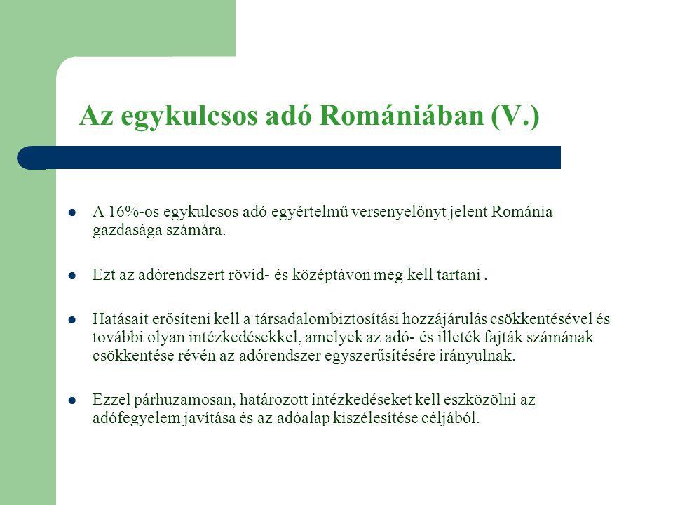 Az egykulcsos adó Romániában (V.)  A 16%-os egykulcsos adó egyértelmű versenyelőnyt jelent Románia gazdasága számára.