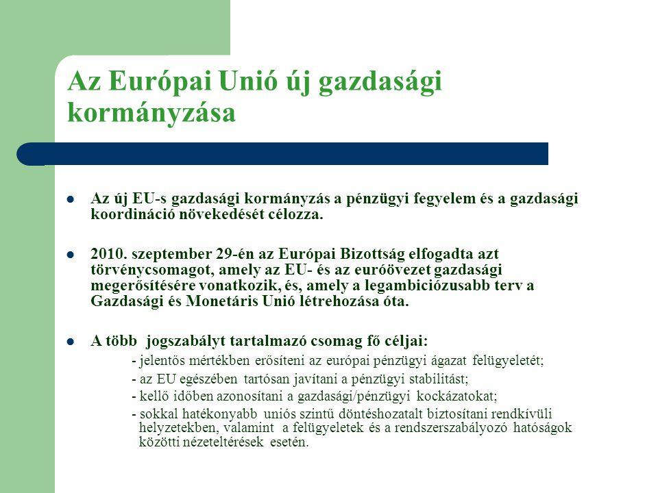 Az Európai Unió új gazdasági kormányzása  Az új EU-s gazdasági kormányzás a pénzügyi fegyelem és a gazdasági koordináció növekedését célozza.