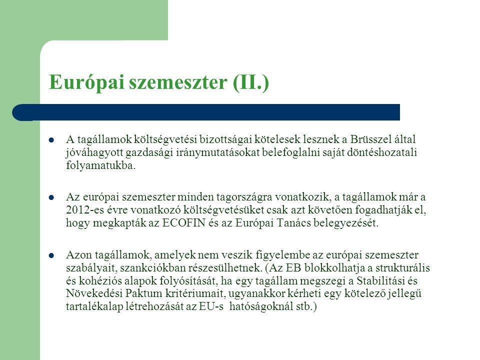 Európai szemeszter (II.)  A tagállamok költségvetési bizottságai kötelesek lesznek a Brüsszel által jóváhagyott gazdasági iránymutatásokat belefoglalni saját döntéshozatali folyamatukba.