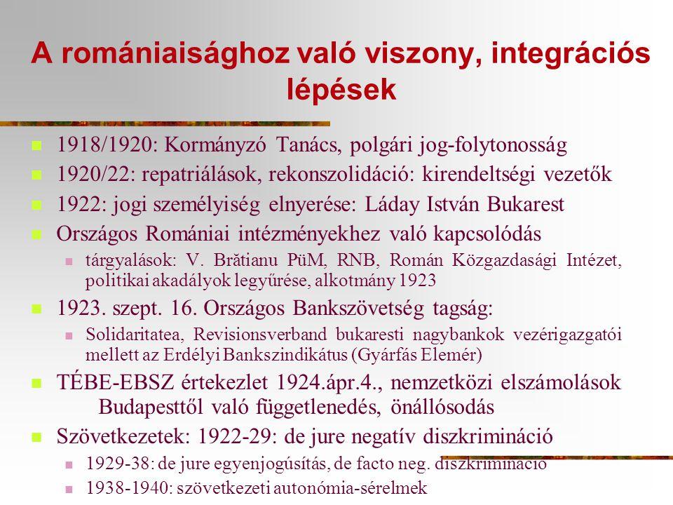 A romániaisághoz való viszony, integrációs lépések  1918/1920: Kormányzó Tanács, polgári jog-folytonosság  1920/22: repatriálások, rekonszolidáció: kirendeltségi vezetők  1922: jogi személyiség elnyerése: Láday István Bukarest  Országos Romániai intézményekhez való kapcsolódás  tárgyalások: V.