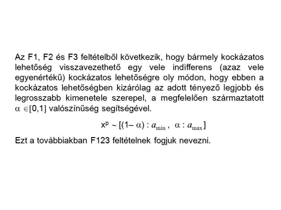 Az F1, F2 és F3 feltételből következik, hogy bármely kockázatos lehetőség visszavezethető egy vele indifferens (azaz vele egyenértékű) kockázatos lehe