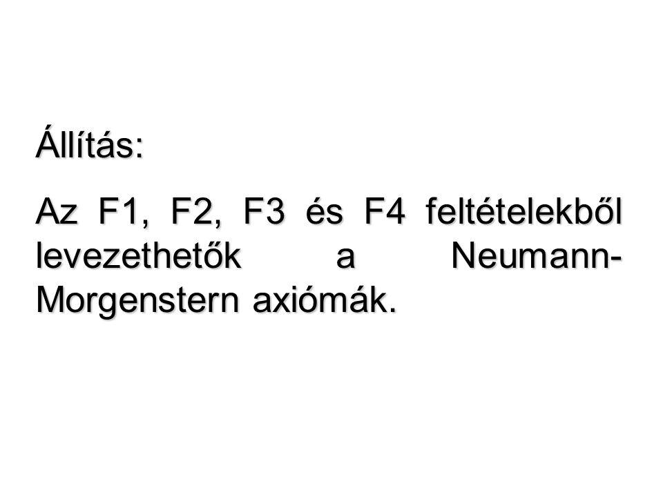 Állítás: Az F1, F2, F3 és F4 feltételekből levezethetők a Neumann- Morgenstern axiómák.