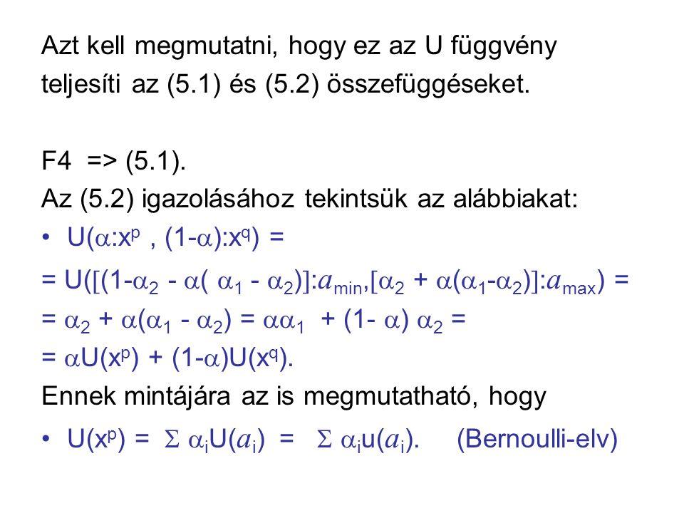Azt kell megmutatni, hogy ez az U függvény teljesíti az (5.1) és (5.2) összefüggéseket. F4 => (5.1). Az (5.2) igazolásához tekintsük az alábbiakat: •U