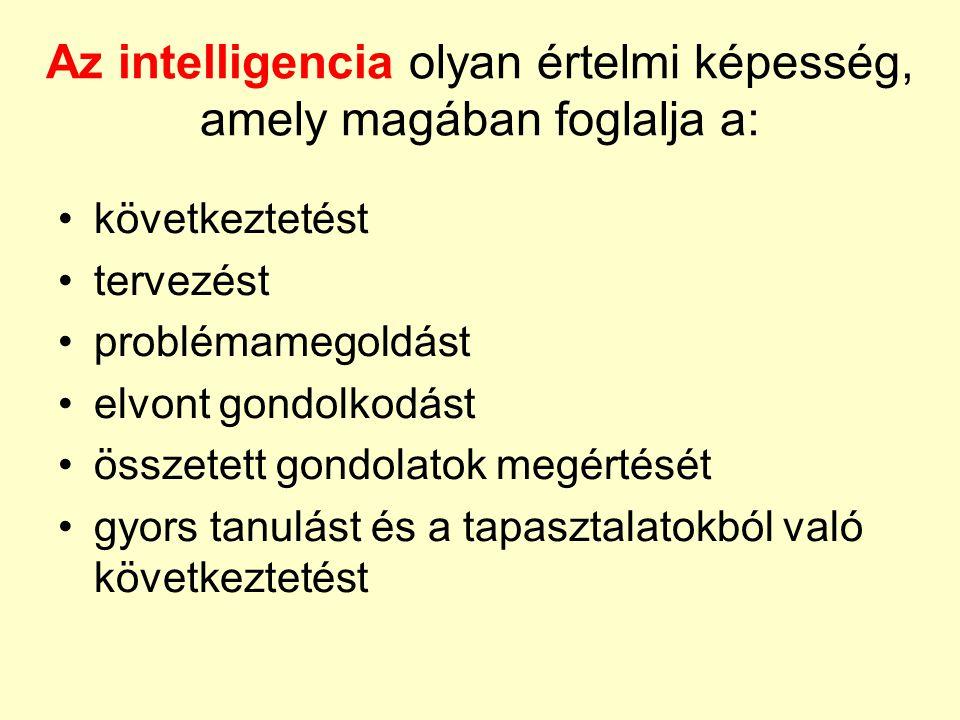 Az intelligencia olyan értelmi képesség, amely magában foglalja a: •következtetést •tervezést •problémamegoldást •elvont gondolkodást •összetett gondo