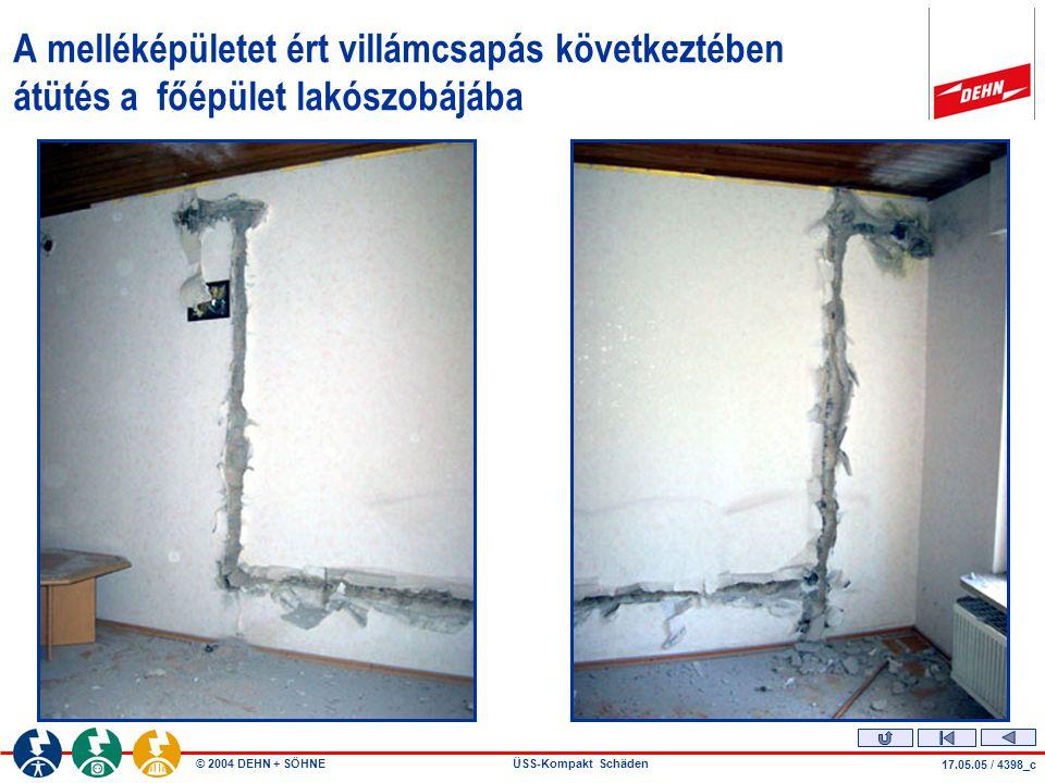 © 2004 DEHN + SÖHNEÜSS-Kompakt Schäden 17.05.05 / 4398_c A melléképületet ért villámcsapás következtében átütés a főépület lakószobájába