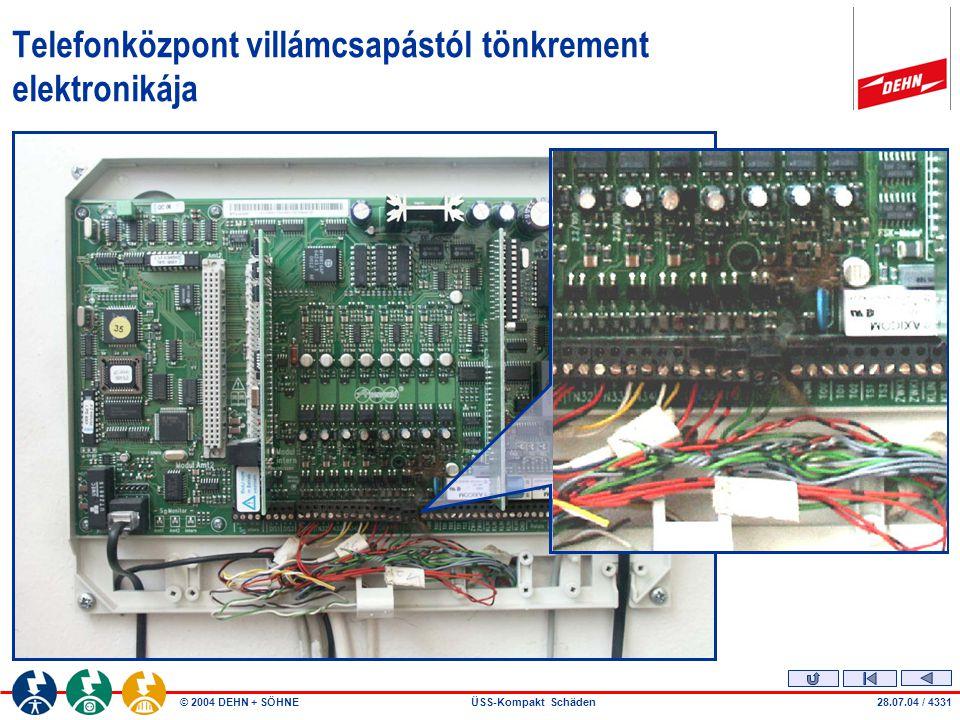 © 2004 DEHN + SÖHNEÜSS-Kompakt Schäden28.07.04 / 4331 Telefonközpont villámcsapástól tönkrement elektronikája