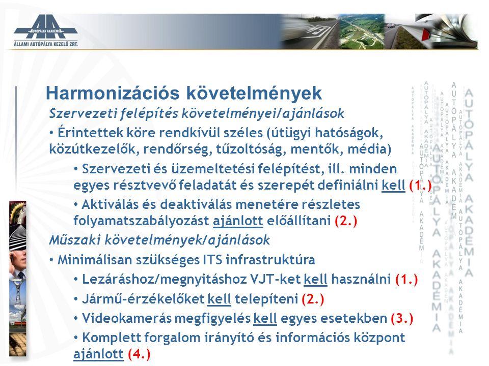 Harmonizációs követelmények Szervezeti felépítés követelményei/ajánlások • Érintettek köre rendkívül széles (útügyi hatóságok, közútkezelők, rendőrség