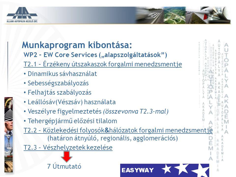 """Munkaprogram kibontása: WP2 – EW Core Services (""""alapszolgáltatások"""") T2.1 – Érzékeny útszakaszok forgalmi menedzsmentje • Dinamikus sávhasználat • Se"""