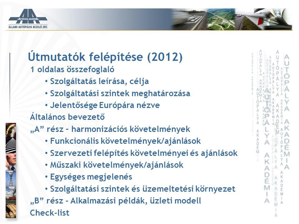Útmutatók felépítése (2012) 1 oldalas összefoglaló • Szolgáltatás leírása, célja • Szolgáltatási szintek meghatározása • Jelentősége Európára nézve Ál
