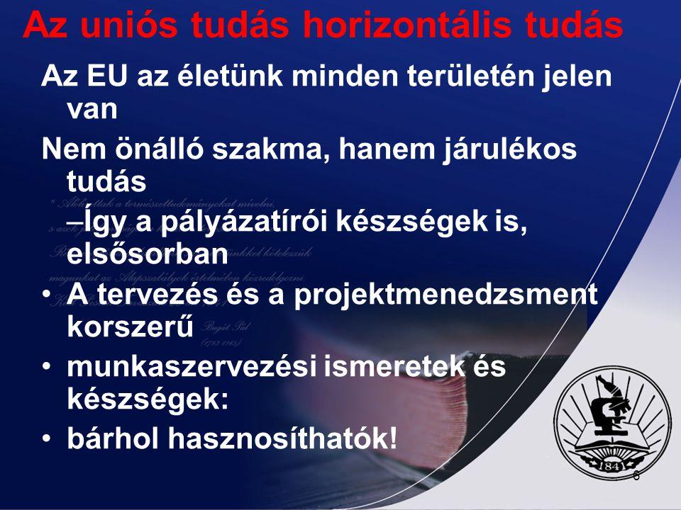 6 Az uniós tudás horizontális tudás Az EU az életünk minden területén jelen van Nem önálló szakma, hanem járulékos tudás –Így a pályázatírói készségek