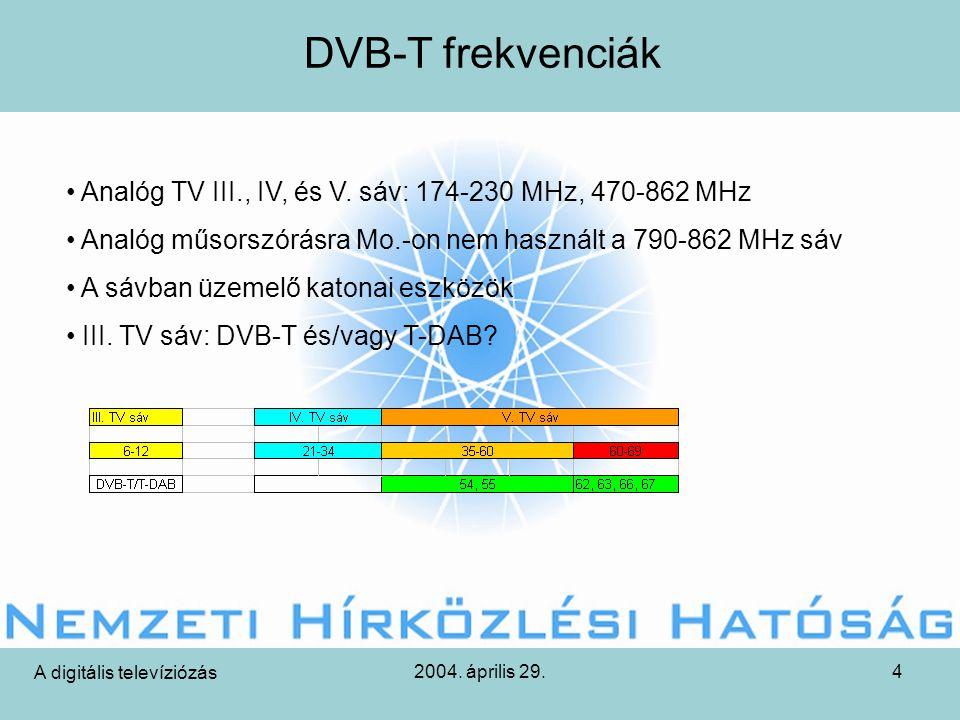 2004. április 29.4 DVB-T frekvenciák A digitális televíziózás • Analóg TV III., IV, és V.