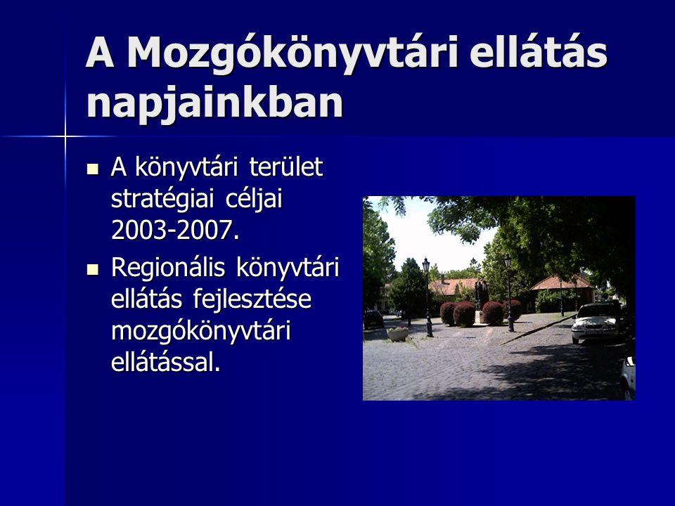 A Mozgókönyvtári ellátás napjainkban  A könyvtári terület stratégiai céljai 2003-2007.  Regionális könyvtári ellátás fejlesztése mozgókönyvtári ellá
