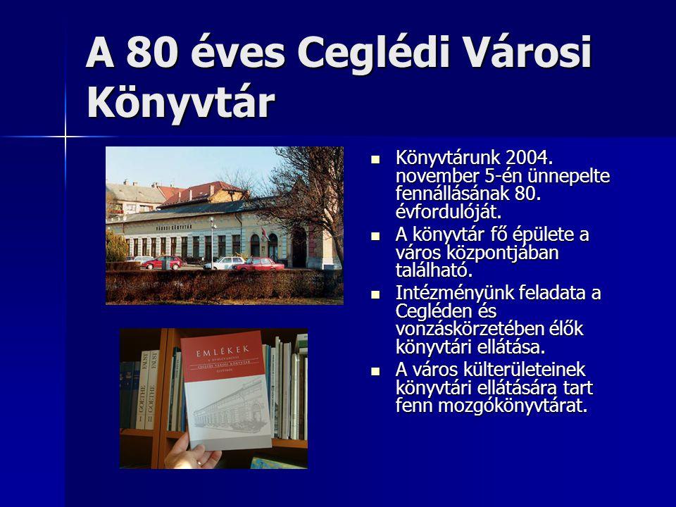A mozgókönyvtári ellátás létrejötte Cegléden  1981-ben jött létre egy átfogó javaslat Pest megye könyvtári alapellátásának javítására a mozgókönyvtári rendszer bevezetésével.