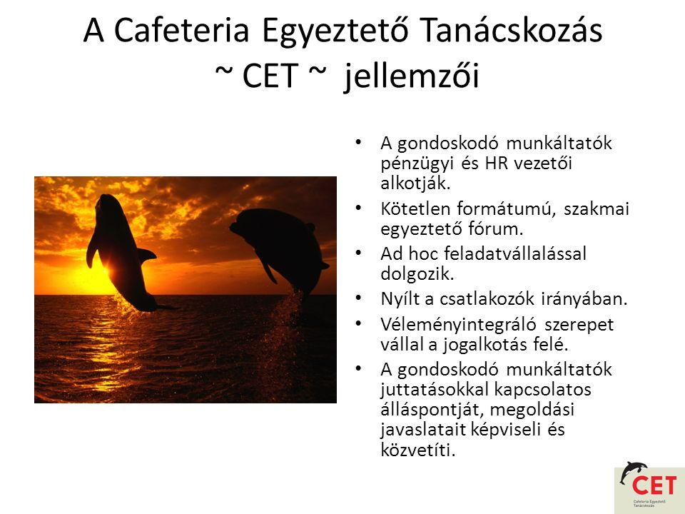A Cafeteria Egyeztető Tanácskozás ~ CET ~ jellemzői • A gondoskodó munkáltatók pénzügyi és HR vezetői alkotják.