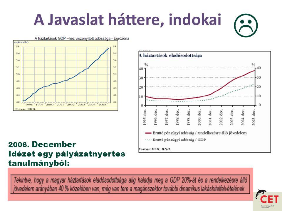A Javaslat háttere, indokai 2006. December Idézet egy pályázatnyertes tanulmányból: 