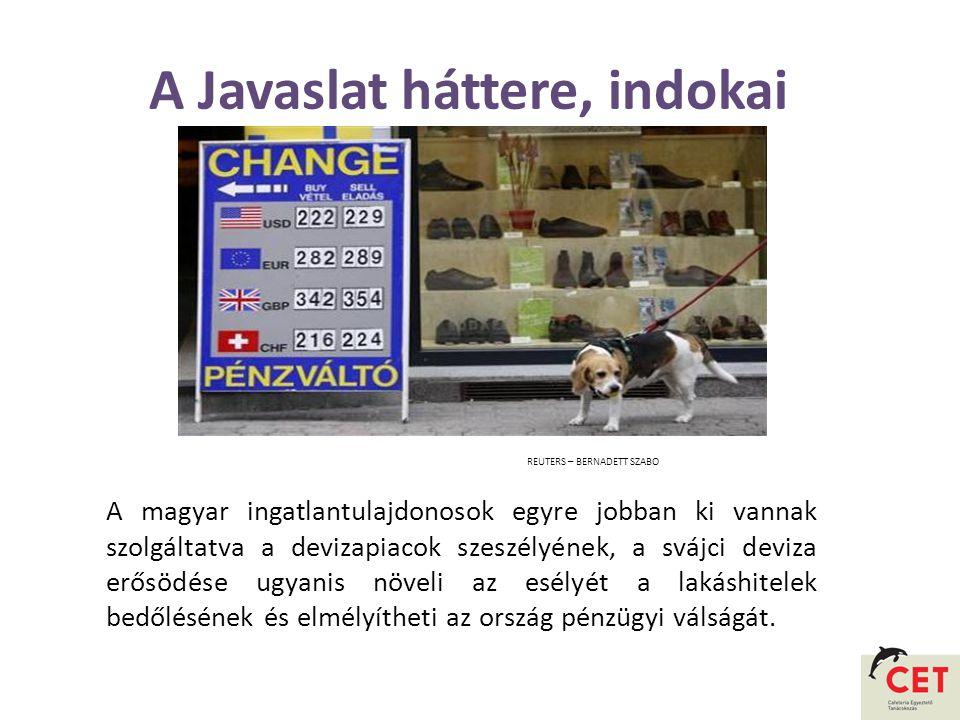 A Javaslat háttere, indokai A magyar ingatlantulajdonosok egyre jobban ki vannak szolgáltatva a devizapiacok szeszélyének, a svájci deviza erősödése ugyanis növeli az esélyét a lakáshitelek bedőlésének és elmélyítheti az ország pénzügyi válságát.