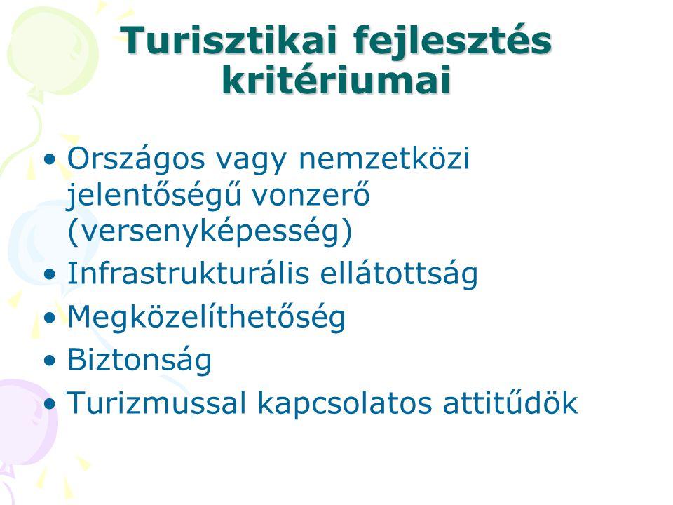 Turisztikai fejlesztés kritériumai •Országos vagy nemzetközi jelentőségű vonzerő (versenyképesség) •Infrastrukturális ellátottság •Megközelíthetőség •