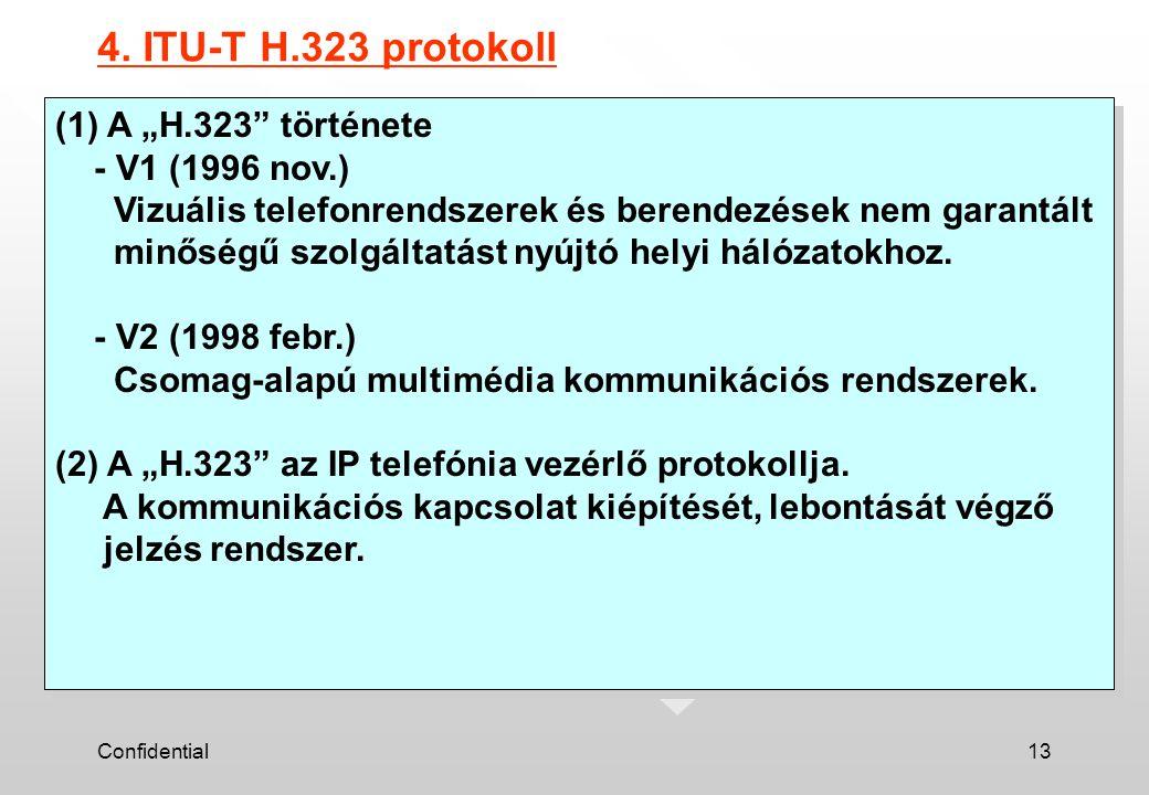 """Confidential13 4. ITU-T H.323 protokoll (1) A """"H.323"""" története - V1 (1996 nov.) Vizuális telefonrendszerek és berendezések nem garantált minőségű szo"""