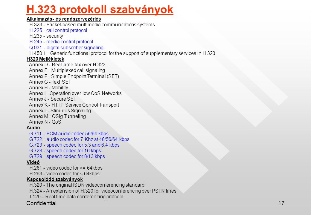 Confidential17 Alkalmazás- és rendszervezérlés H.323 - Packet-based multimedia communications systems H.225 - call control protocol H.235 - security H