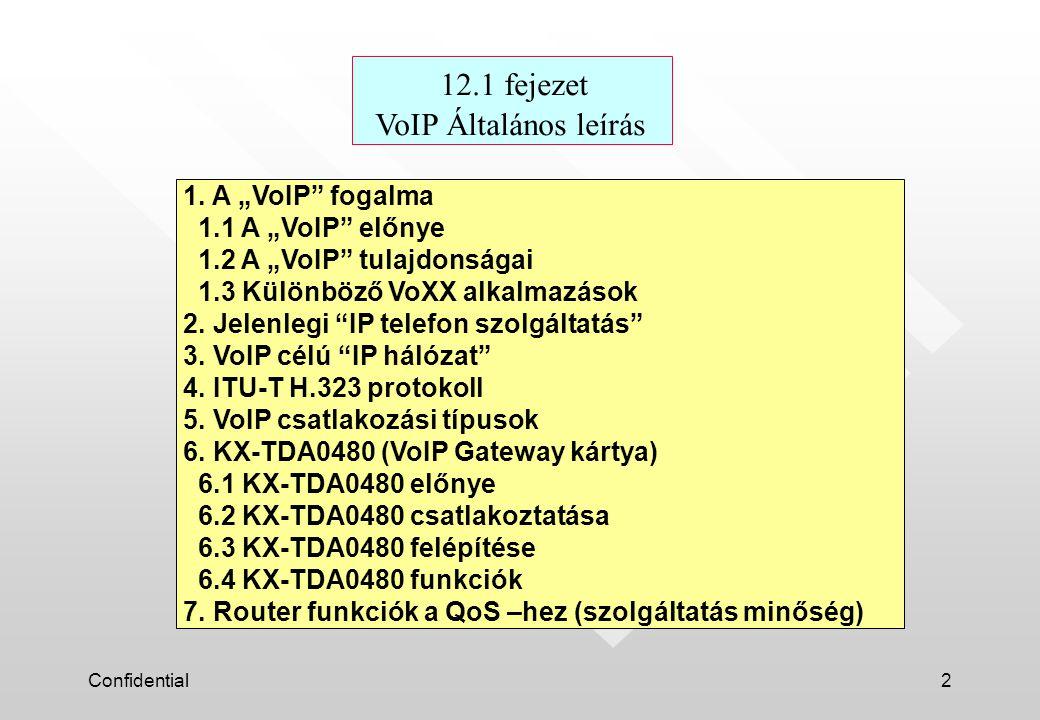 """Confidential2 12.1 fejezet VoIP Általános leírás 1. A """"VoIP"""" fogalma 1.1 A """"VoIP"""" előnye 1.2 A """"VoIP"""" tulajdonságai 1.3 Különböző VoXX alkalmazások 2."""