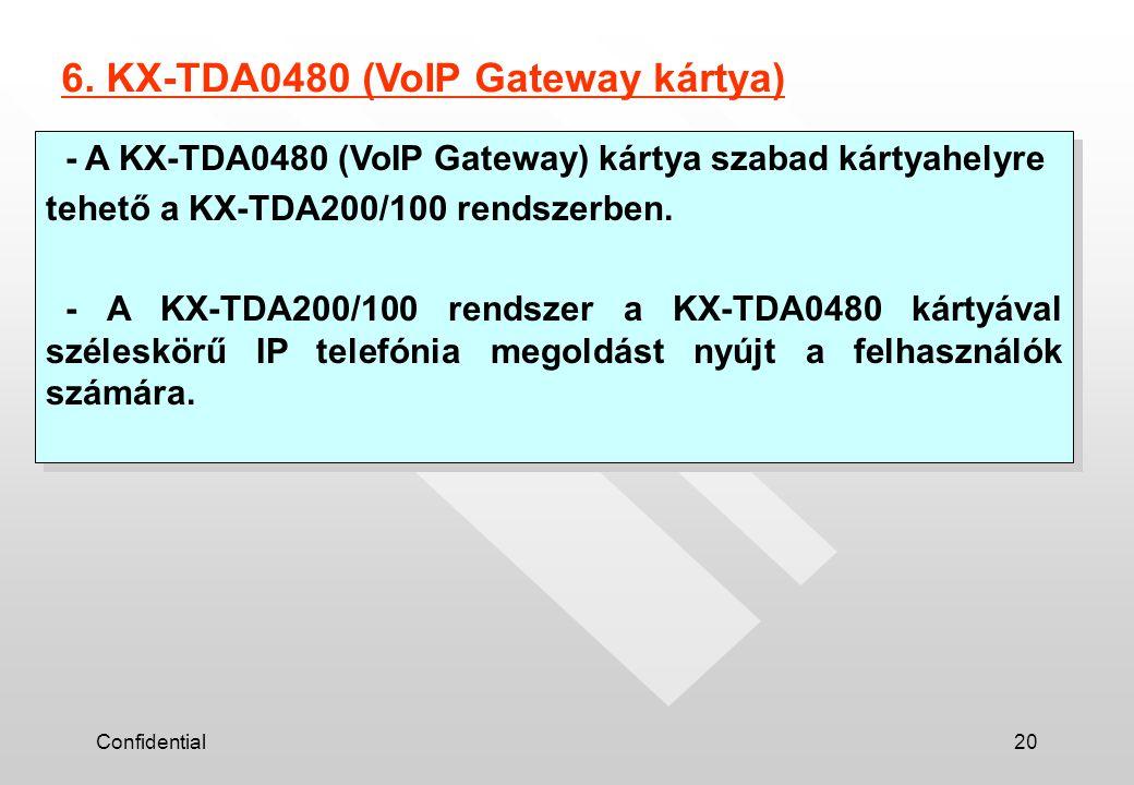 Confidential20 - A KX-TDA0480 (VoIP Gateway) kártya szabad kártyahelyre tehető a KX-TDA200/100 rendszerben. - A KX-TDA200/100 rendszer a KX-TDA0480 ká