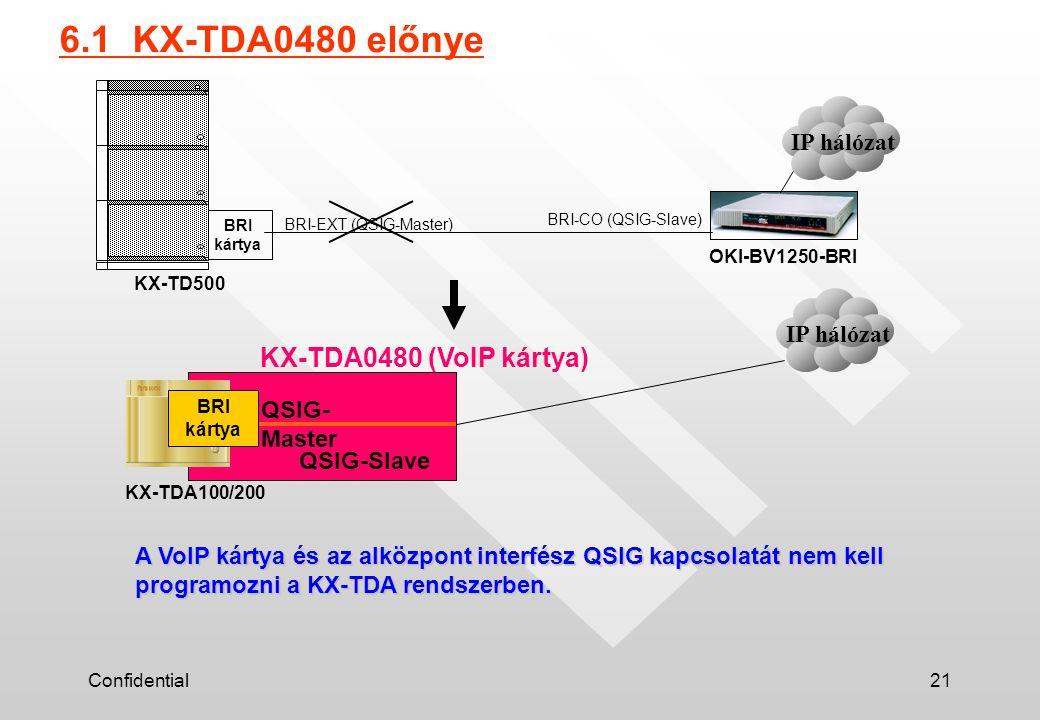 Confidential21 6.1 KX-TDA0480 előnye KX-TD500 OKI-BV1250-BRI BRI-CO (QSIG-Slave) BRI-EXT (QSIG-Master) BRI kártya KX-TDA100/200 QSIG- Master BRI kártya KX-TDA0480 (VoIP kártya) A VoIP kártya és az alközpont interfész QSIG kapcsolatát nem kell programozni a KX-TDA rendszerben.