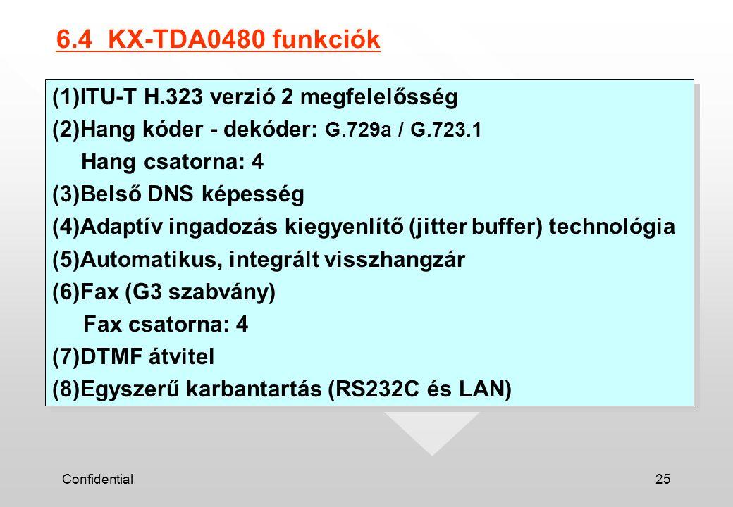 Confidential25 6.4 KX-TDA0480 funkciók (1)ITU-T H.323 verzió 2 megfelelősség (2)Hang kóder - dekóder: G.729a / G.723.1 Hang csatorna: 4 (3)Belső DNS képesség (4)Adaptív ingadozás kiegyenlítő (jitter buffer) technológia (5)Automatikus, integrált visszhangzár (6)Fax (G3 szabvány) Fax csatorna: 4 (7)DTMF átvitel (8)Egyszerű karbantartás (RS232C és LAN) (1)ITU-T H.323 verzió 2 megfelelősség (2)Hang kóder - dekóder: G.729a / G.723.1 Hang csatorna: 4 (3)Belső DNS képesség (4)Adaptív ingadozás kiegyenlítő (jitter buffer) technológia (5)Automatikus, integrált visszhangzár (6)Fax (G3 szabvány) Fax csatorna: 4 (7)DTMF átvitel (8)Egyszerű karbantartás (RS232C és LAN)