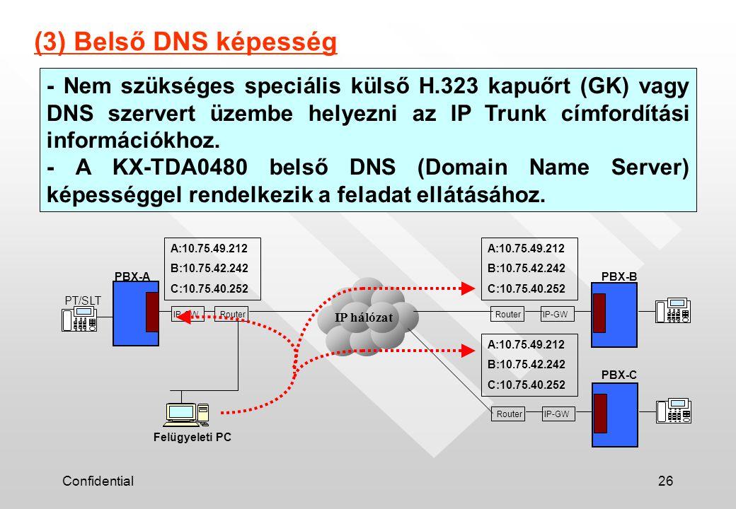 Confidential26 - Nem szükséges speciális külső H.323 kapuőrt (GK) vagy DNS szervert üzembe helyezni az IP Trunk címfordítási információkhoz. - A KX-TD